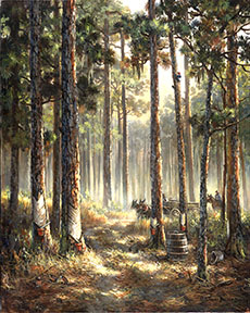 Image of Working the Pines painting by Thomas Brooks