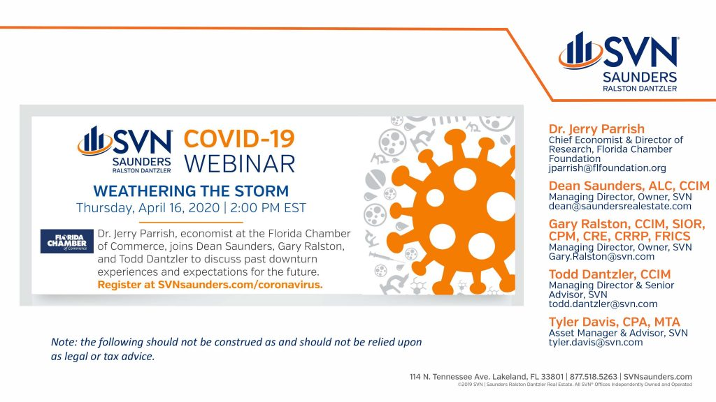Cover Slide of the Weathering the Storm Covid-19 webinar