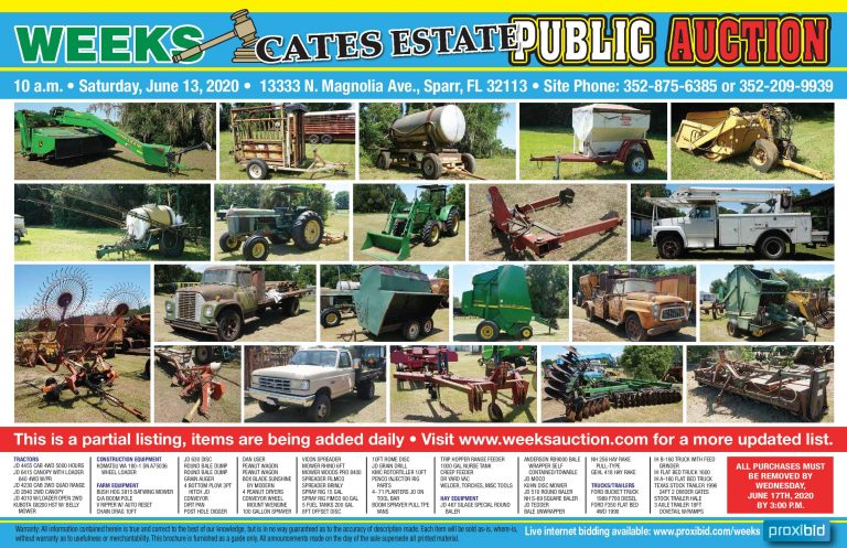 Public Auction of farm equipment on June 13 at 10 AM