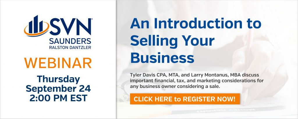 Ad to register for upcoming webinar: An Introduction to Selling Your Business