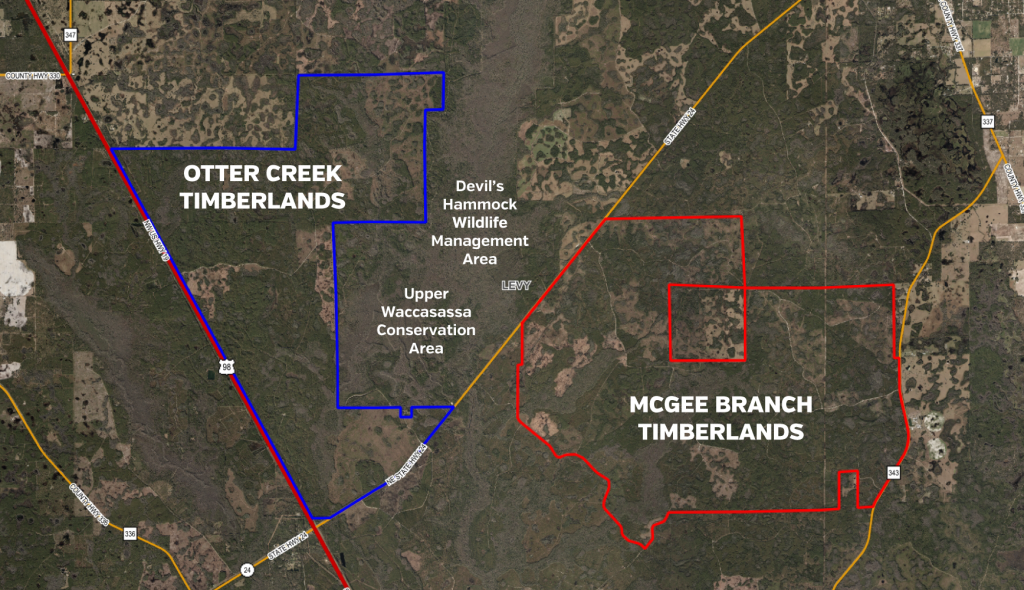 An aerial map image showing Otter Creek and McGee Branch Timberlands