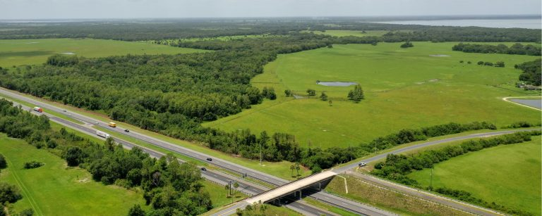 An aerial image of Green Island Ranch and the Florida Turnpike